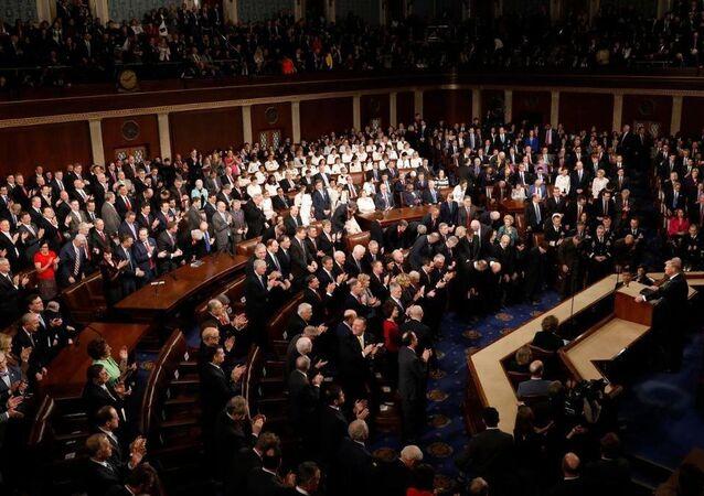 الرئيس الأمريكي دونالد ترامب خلال كلمته أمام الكونغرس