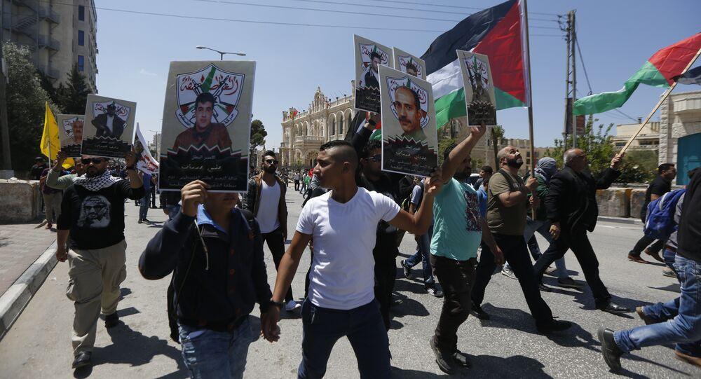 مسيرة تضامنية مع أسرى للسجون الإسرائيلية في بيت لحم، الضفة الغاربية، فلسطين
