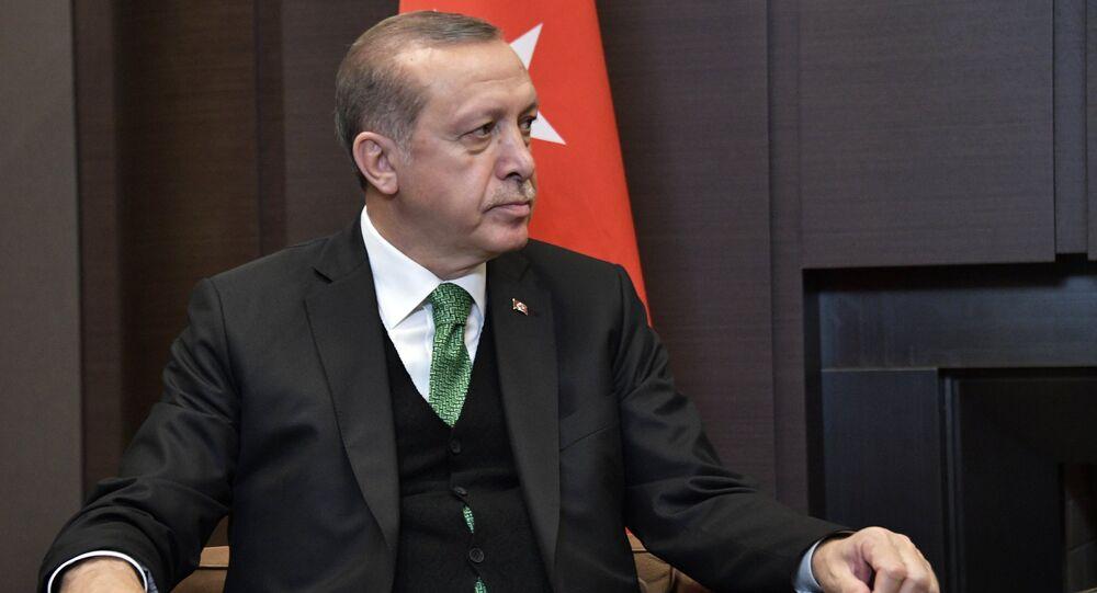 الرئيس التركي رجب طيب أردوغان خلال لقاء نظيره الرئيس فلاديمير بوتين في مدينة سوتشي، 3 مايو/ آيار 2017