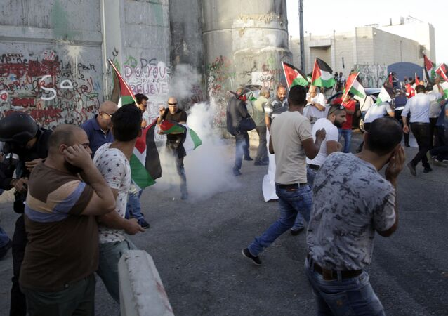 مواجهات بين الفلسطينيين وقوات الشرطة الإسرائيلية في بيت لحم، فلسطين، 19 يوليو/ تموز 2017