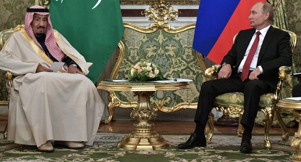 محادثات العاهل السعودي، الملك سلمان بن عبد العزيز آل سعود والرئيس الروسي فلاديمير بوتين في قصر الكرملين، موسكو، روسيا