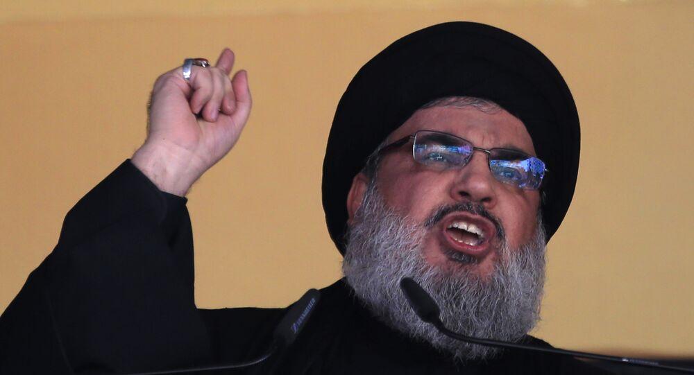 الأمين العام لـحزب الله حسن نصرالله خلال خطابه في بيروت، لبنان
