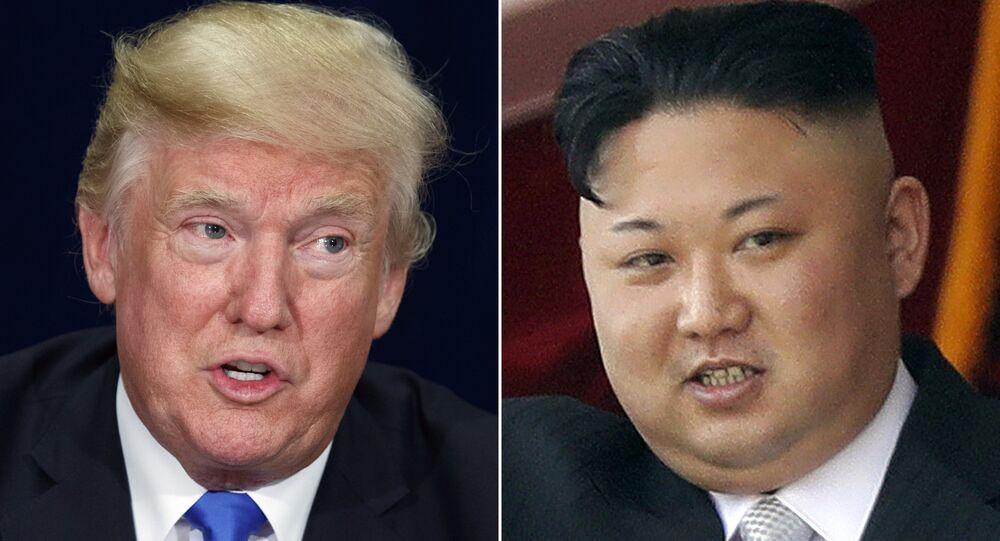 زعيم كوريا الشمالية كيم يونغ أون ورئيس الولايات المتحدة الأمريكية دونالد ترامب