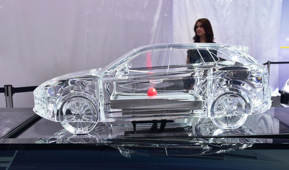 عرض السيارات لا أوتو شو 2017 في لوس أنجلوس، مجسم لسيارة Porsche Cayenne كاليفورنيا 29 نوفمبر/ تشرين الثاني 2017