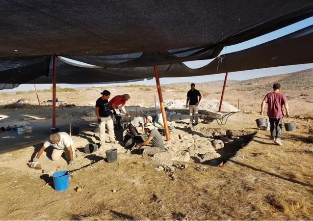 علماء الآثار في منطقة الحفريات