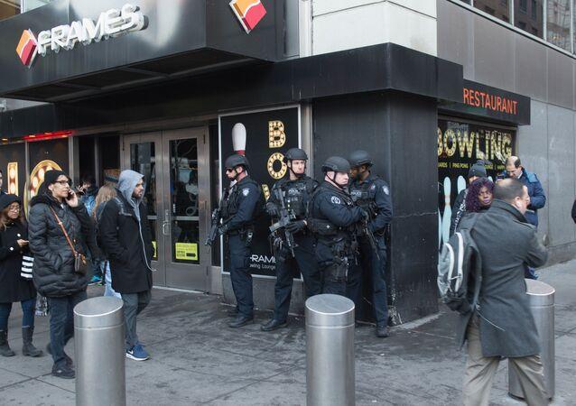 موقع الانفجار في مانهاتن، نيويورك، الولايات المتحدة الأمريكية 11 ديسمبر/ كانون الأول 2017