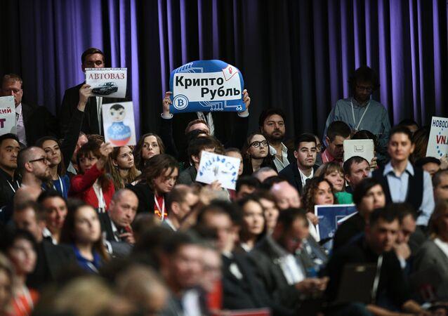 صحفيون خلال المؤتمرالصحفي الكبير السنوي للرئيس الروسي فلاديمير بوتين في الكرملين، موسكو 14 ديسمبر/ كانون الأول 2017