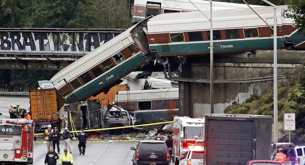 حادث قطار في واشنطن، الولايات المتحدة 18 ديسمبر/ كانون الأول 2017