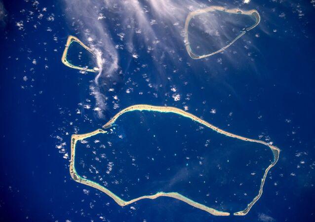 صورة لجزر كارولين في المحيط الهادئ - التقطها رائد فضاء روس كوسموس الروسي سيرغي ريازانسكي