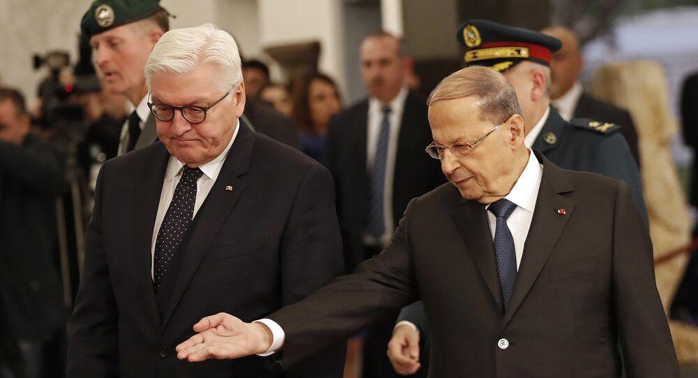 الرئيس اللبناني ميشال عون  يستقبل الرئس الألماني