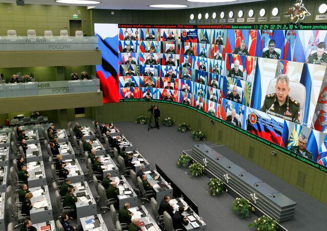 شويغو خلال اجتماع في وزارة الدفاع الروسية