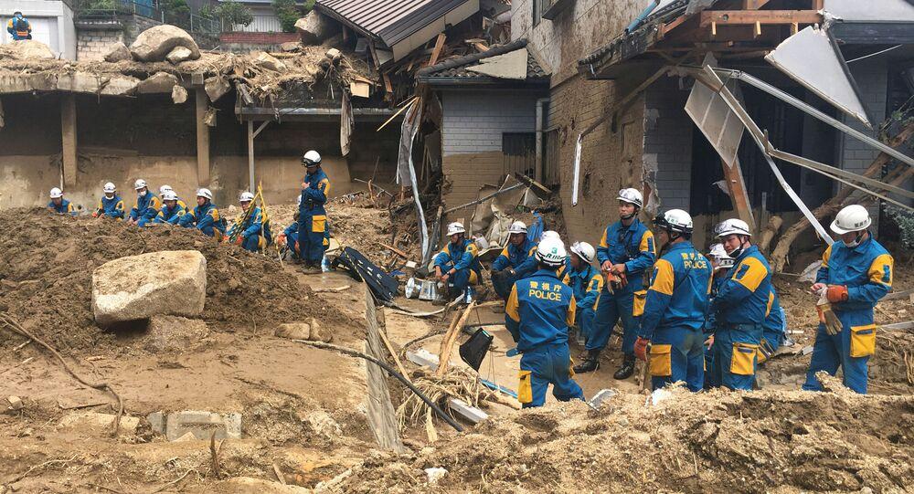 تداعيات الفياضانات في مدينة هيروشيما، اليابان 10 يوليو/ تموز 2018