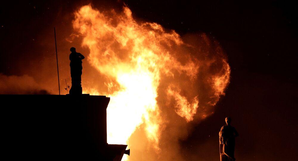 اندلاع حريق في متحف البرازيل الوطني في ريو دي جانيرو، 2 سبتمبر/ أيلول 2018