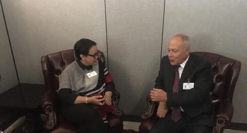 أمين عام جامعة الدولى العربية أحمد أبو الغيط مع وزيرة خارجية إندونيسيا ريتنو مارسودي