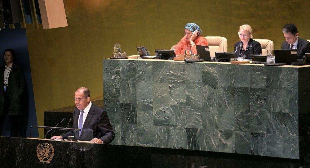 وزير الخارجية الروسية سيرغي لافروف خلا كلمته أمام الجمعية العامة للأمم المتحدة