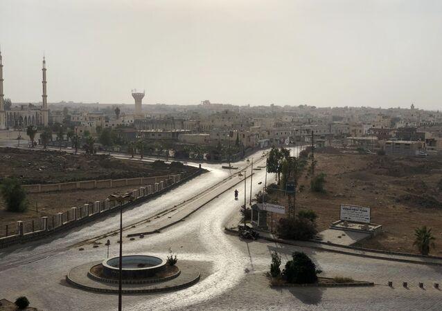 الجزء الحديث من مدينة بصرى في محافظة درعا، سوريا