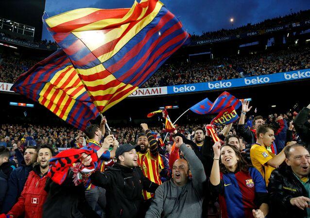 جماهير فريق نادي برشلونة يحتفلون بفوز الفريق (5-1) على نظيره الإسباني ريال مدريد، 28 أكتوبر/ تشرين الأول 2018