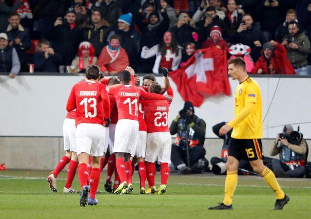منتخب سويسرا ومنتخب بلجيكا بدوري أمم أوروبا
