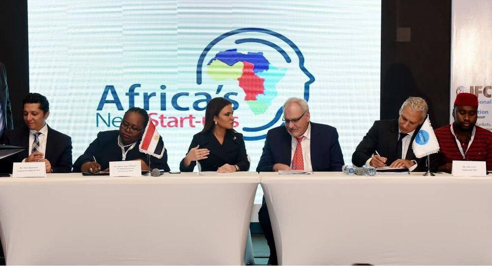 وزيرة الاستثمار المصرية، سحر نصر خلال منتدى أفريقيا 2018