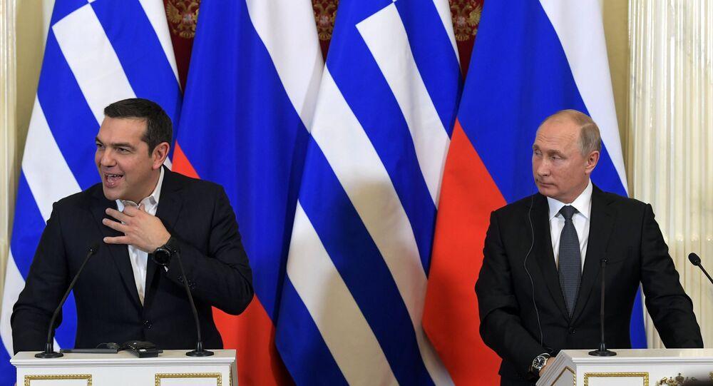 رئيس الوزراء اليوناني ألكسيس تسيبراس يجتمع مع الرئيس الروسي فلاديمير بوتين