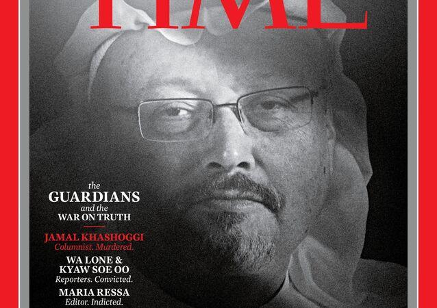 الصحفي السعودي الراحل جمال خاشقجي على غلاف مجلة تايم الأمريكية بعد اختياره للقب شخصية العام في 2018