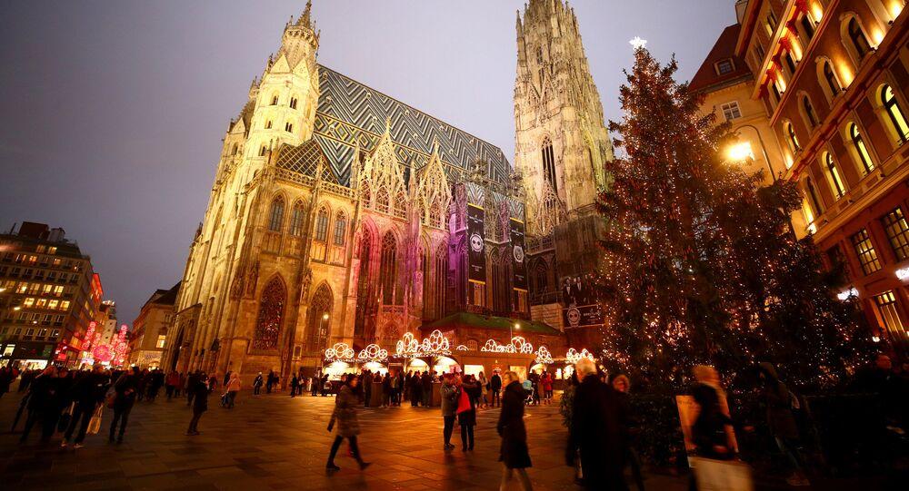 شجرة عيد الميلاد في ساحة القديس ستيفان في فيينا، النمسا 20 نوفمبر/ تشرين الثاني  2018