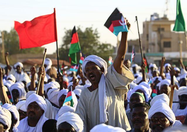 صورة أرشيفية من عام 2017 - أنصار الحزب المعارض الأمة في أم درمان، السودان 26 يناير/ كانون الثاني 2017