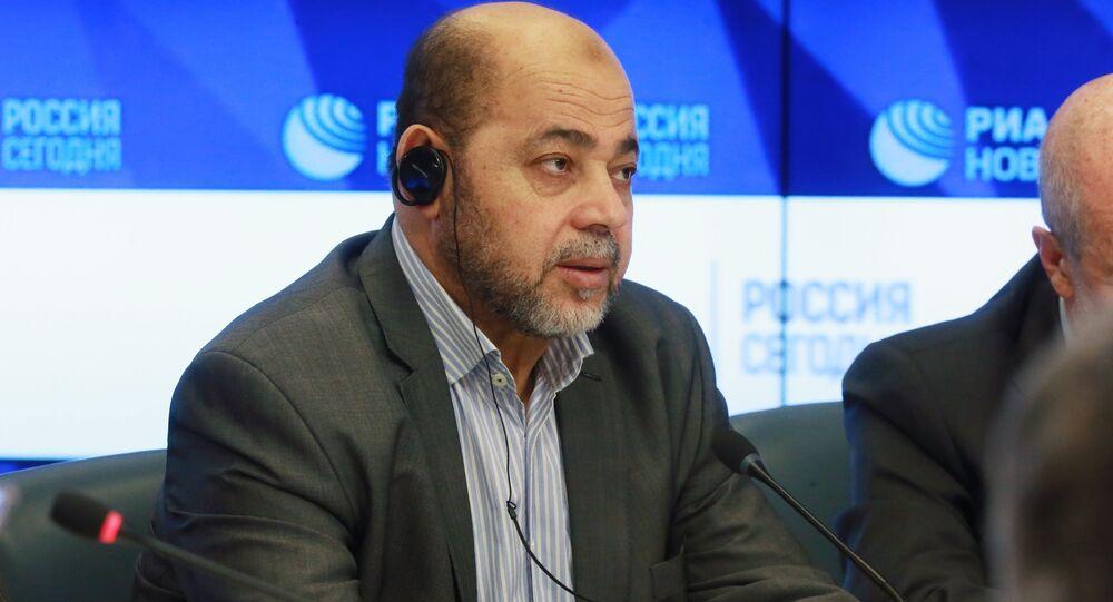 عضو المكتب السياسي لحركة حماس، موسى أبو مرزوق، خلال حوار فلسطيني فلسطيني في موسكو، 13 فبراير/ شباط 2019