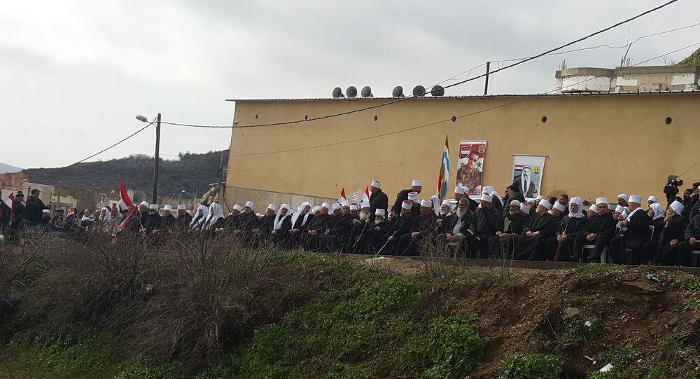 أهالي الجولان المحتل يتظاهرون رفضا لمحاولات الاستيلاء عليه