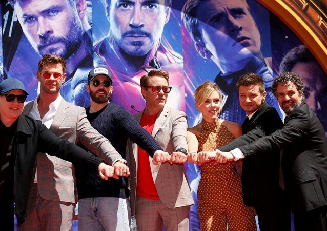 أبطال فيلم Avengers: Endgame في عرضه العالمي الأول، لوس أنجلوس، الولايات المتحدة، 23 نيسان/أبريل 2019