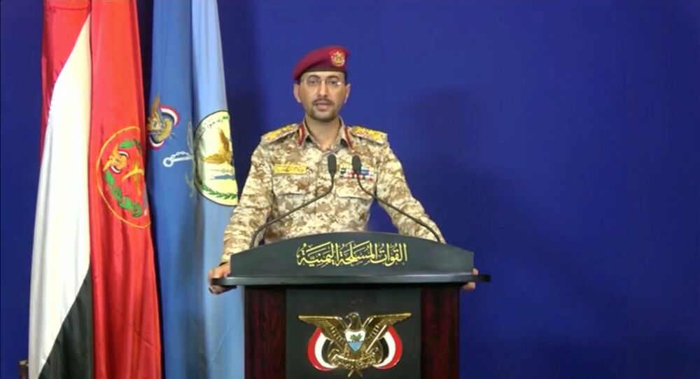 يحيى سريع الناطق الرسمي باسم الحوثييين يعلن المسؤولية عن الهجوم بطائرات دون طيار على المنشآت النفطية في المملكة العربية السعودية من مكان غير معروف باليمن