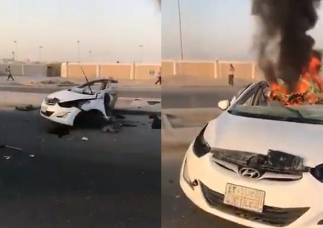حادث يؤدي إلى انقسام سيارة إلى شطرين ومقتل قائدها في السعودية