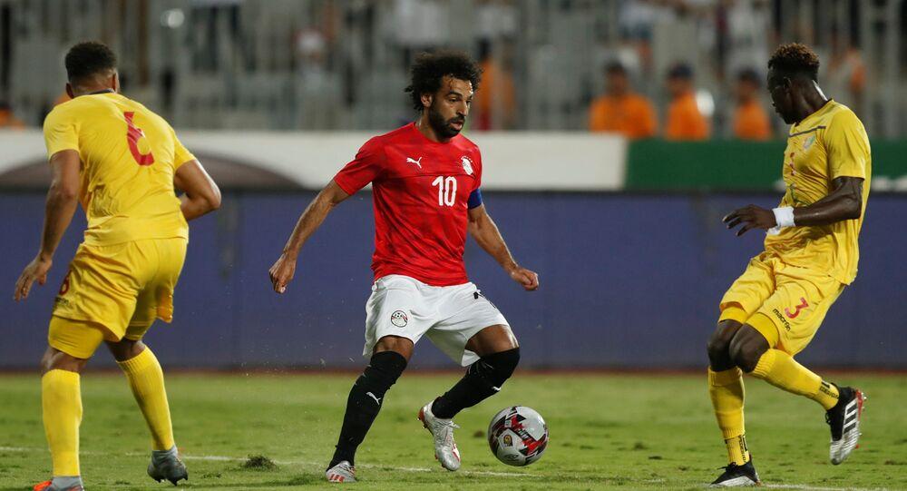 محمد صلاح في مباراة مع منتخب مصر