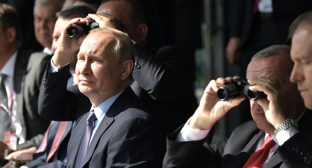 الرئيس الروسي فلاديمير بوتين في معرض ماكس 2019 للطيران الجوي في مطار جوكوفسكي في ضواحي موسكو، 27 أغسطس/ آب 2019