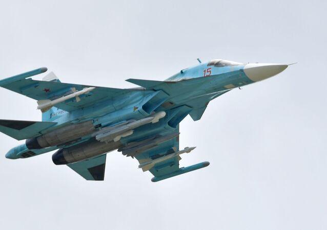 مقاتلة سو-34 - معرض ماكس 2019 للطيران الجوي في مطار جوكوفسكي في ضواحي موسكو، 27 أغسطس/ آب 2019