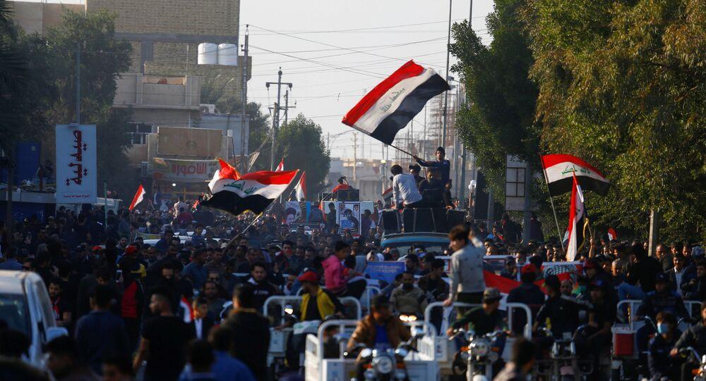احتجاجات مناهضة للحكومة العراقية في بغداد، العراق 6 ديسمبر 2019
