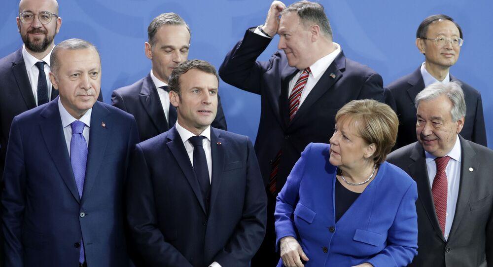 صورة جماعية لقادة مؤتمر برلين حول ليبيا، 19 يناير 2020