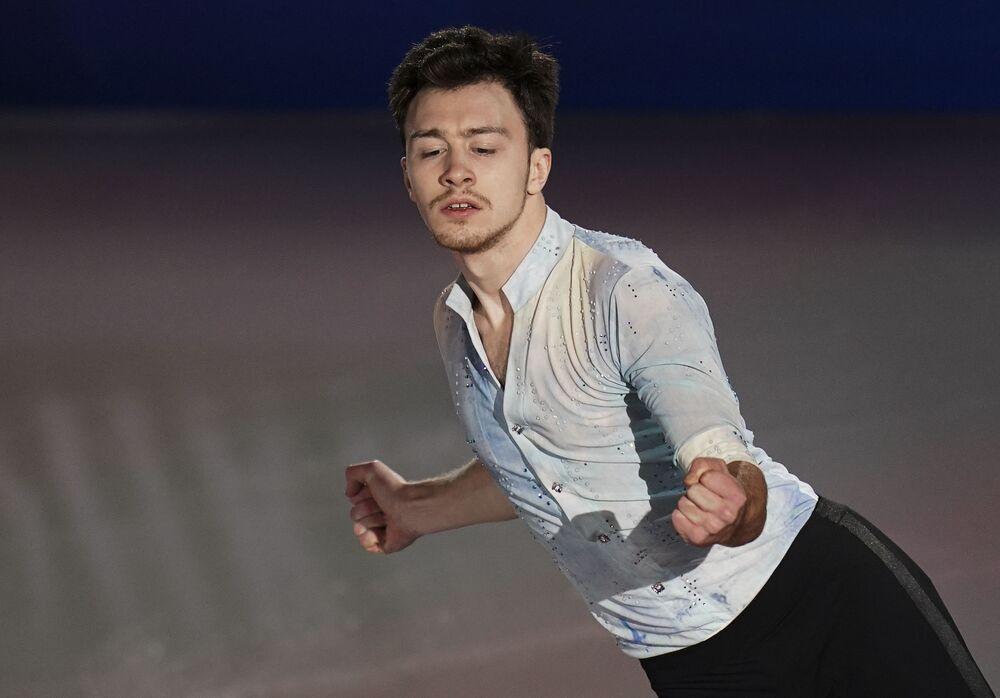 الروسي دميتري ألييف خلال فقرته الفنية في بطولة أوروبا للتزحلق على الجليد في غراتس، النمسا 26 يناير 2020