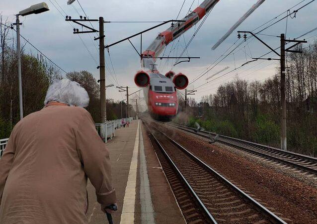 قطار طائر في سان مدينة سان بطرسبورغ من عمل الفنان فاديم سولوفيوف