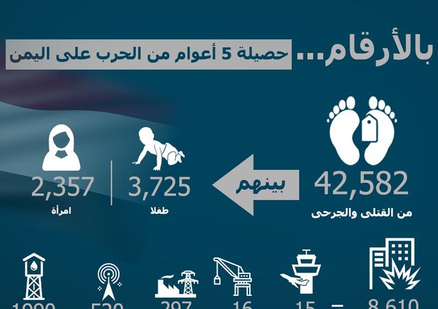 بالأرقام... حصيلة 5 أعوام من الحرب على اليمن