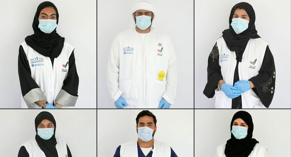 متطوعون لمساعدة الأطباء في مواجهة أزمة كورونا في الإمارات العربية المتحدة، 9 أبريل 2020